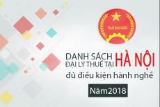 Danh sách đại lý thuế tại Hà Nội đủ điều kiện hành nghề (2018)