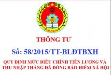 Thông tư 58/2015/TT-BLĐTBXH của Bộ Lao động – Thương binh và Xã hội